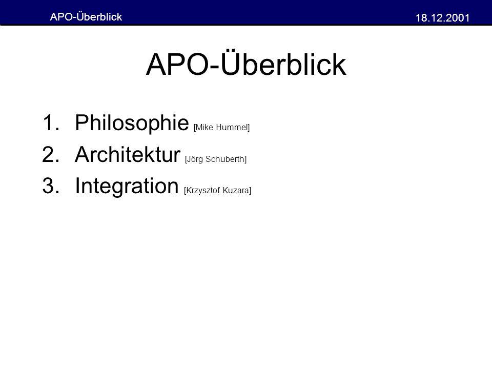 APO-Überblick Philosophie [Mike Hummel] Architektur [Jörg Schuberth]